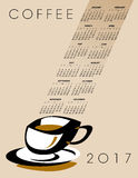 2017 coffee calendar. Ideal for print or web use Stock Images