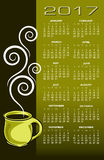2017 coffee calendar. Ideal for print or web use Royalty Free Stock Photo