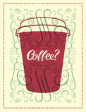 Coffee calligraphic vintage style grunge poster. Retro vector illustration. Stock Image