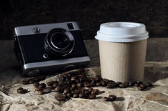 Coffee with camera Stock Image