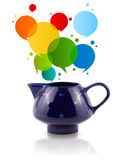 Coffee can with colorful abstract speech bubble Royalty Free Stock Photo