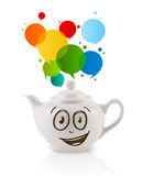 Coffee can with colorful abstract speech bubble Stock Photography