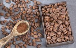 Roasted and ground coffee - Coffea. Coffee can help prevent some diseases and contribute to keep in shape the memory and increase the physical and mental Royalty Free Stock Images