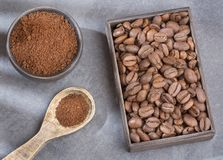 Roasted and ground coffee - Coffea. Coffee can help prevent some diseases and contribute to keep in shape the memory and increase the physical and mental Stock Photo