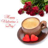 Coffee, candies and red roses for Valentine's Day, top view Royalty Free Stock Photography