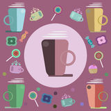 Coffee, candies and sweets for a card Stock Photos