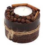 Coffee candle. Handmade. Isolated object Royalty Free Stock Image