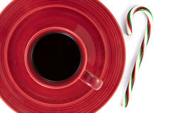 Coffee and Candy Cane Royalty Free Stock Photo
