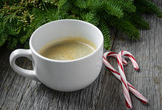 Coffee and Candy Cane for the Holidays Royalty Free Stock Image