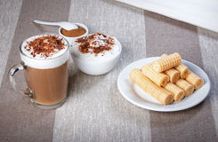 Coffee cappuccino chocolate chip and cinnamon waffle rolls and w Stock Image