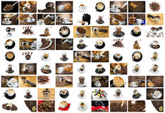 Coffee and Cappuccino Collage. For italian breackfast Royalty Free Stock Photos