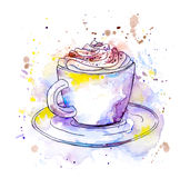 Coffee cappuccino cup. Watercolor Royalty Free Stock Photos