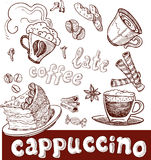 Coffee, cappuccino, late and sweets. handwriting Stock Image