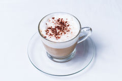 Coffee Cappuccino or Latte. Cappuccino in a cup on white background stock images