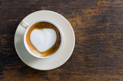 Coffee, cappuccino milk foam heart Royalty Free Stock Photo