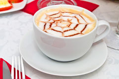 Coffee cappuccino in white cup Stock Image