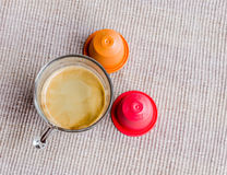 Coffee capsules. Fragrant, mellow atmosphere Stock Photos