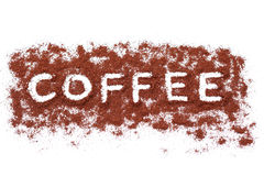 Coffee caption. With coffee beans on white background - coffee time royalty free stock photos