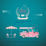 Coffee Car. Flat design of coffee car, Vehicle shop Stock Photo