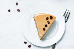Coffee caramel cream brulee mousse cake Stock Images