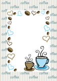 Coffee card. A card with coffee themed background in blue and brown colours stock illustration