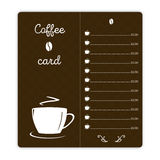 Coffee card with coffee cup on brown background.  vector illustration