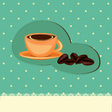 Coffee card with cup and beans Stock Photo