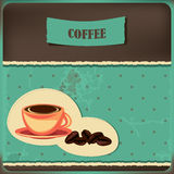 Coffee card with cup and beans Stock Photography