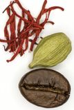 Coffee, cardamom and saffron. On a white background Royalty Free Stock Photo