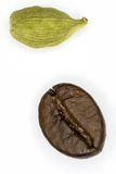 Coffee and cardamom. Coffee and cardamom on a white background Stock Photo