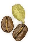 Coffee and cardamom. Coffee and cardamom on a white background Royalty Free Stock Photo