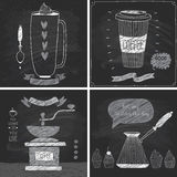 Coffee cards - Chalkboard style. Royalty Free Stock Photos