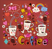 Coffee cartoon illustration. With cute characters and design elements Royalty Free Stock Photos