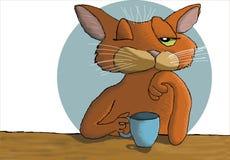 Coffee cat. Cat Cartoon of a sleepy cat drinking coffee vector illustration