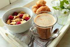 Coffee, cereals and croissants Royalty Free Stock Image