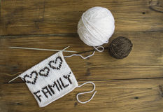 the word family is associated of wool Stock Image