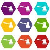 Coffee cezve icon set color hexahedron. Coffee cezve icon set many color hexahedron isolated on white vector illustration Stock Photography