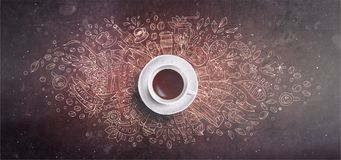 Coffee chalk illustrated concept on black board background - white coffee cup, top view with chalk doodle illustration. About coffee, beans, morning, espresso royalty free stock images
