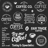 Coffee chalkboard text and symbols. Set of coffee shop sketches and text symbols on a chalkboard background Royalty Free Stock Images