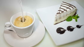 Coffee and cheese cake stock video