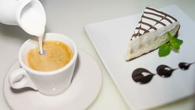 Coffee and cheese cake stock footage