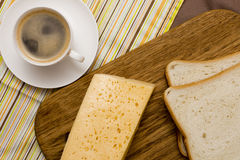 Coffee, cheese, toast for breakfast Stock Image