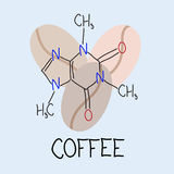 Coffee. The chemical formula of caffeine.  Royalty Free Stock Photography