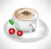 Coffee with cherry Royalty Free Stock Image