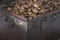 Coffee chest. A treasure chest with coffee beans Stock Photo