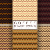 Coffee chevron seamless pattern collection Royalty Free Stock Photo
