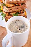 Coffee and chicken sandwiches Royalty Free Stock Photo