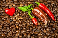Coffee and chili peppers. Sale of coffee and spices. Trade in agricultural commodities. Stock Photos