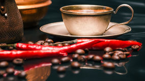 Coffee and chili Royalty Free Stock Images