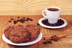 Coffee and chip cookies Stock Image